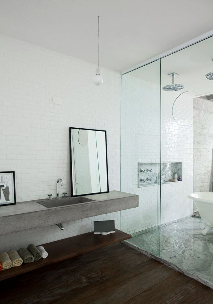 Bathroom with a concrete basin
