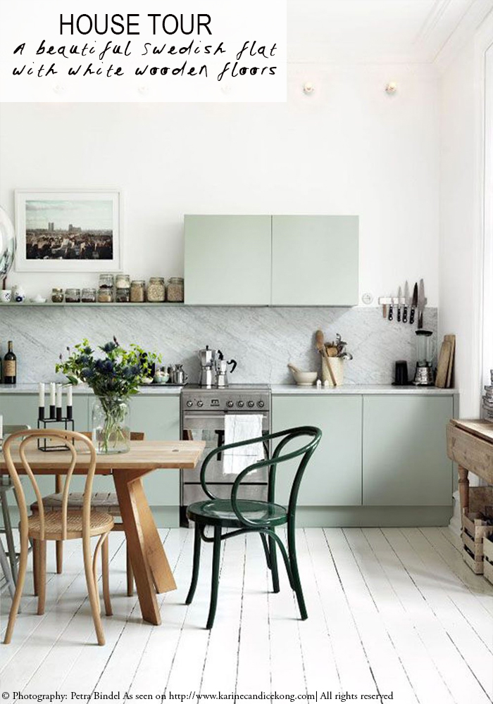 a beautiful Swedish flat with white wooden floors. Read on www.karinecandicekong.com