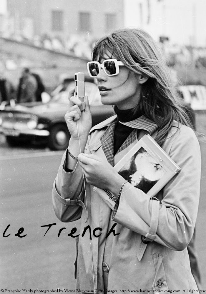 LE TRENCH: Francoise Hardy photographed by Victor Blackman/Getty Images. Read on www.karinecandicekong.com