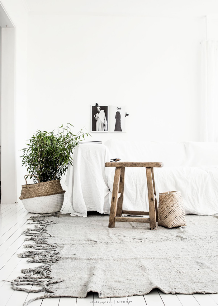 White interiors, rustic & calming