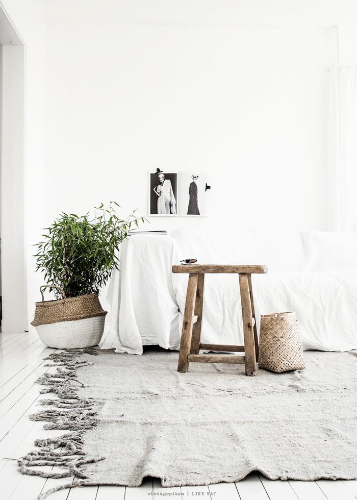 White interiors, rustic & calming