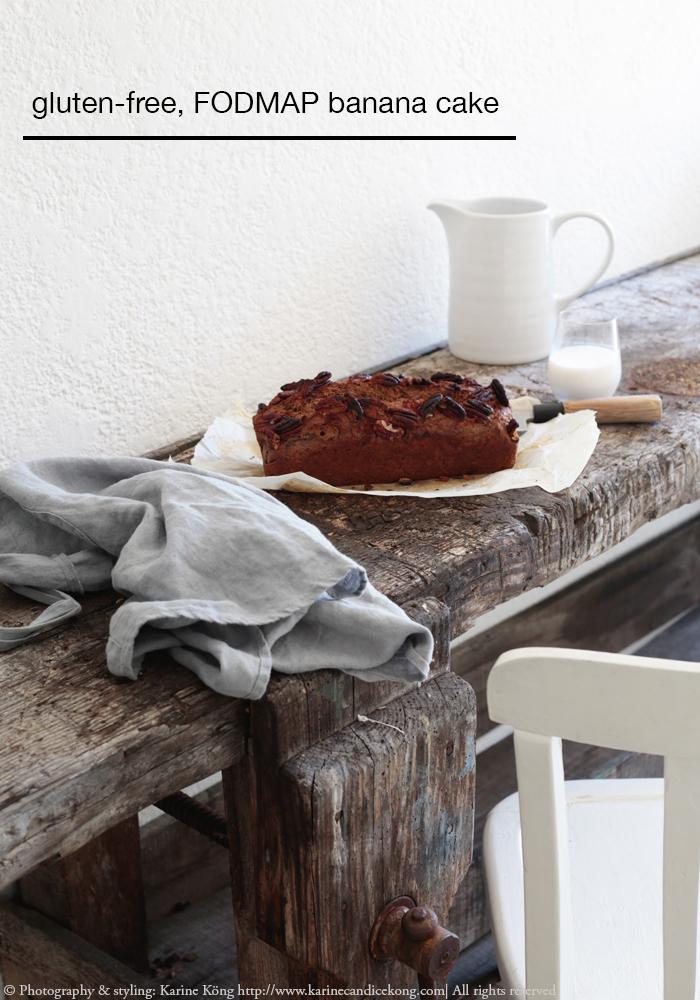 Gluten-free, FODMAP banana cake recipe. Read on www.karinecandicekong.com