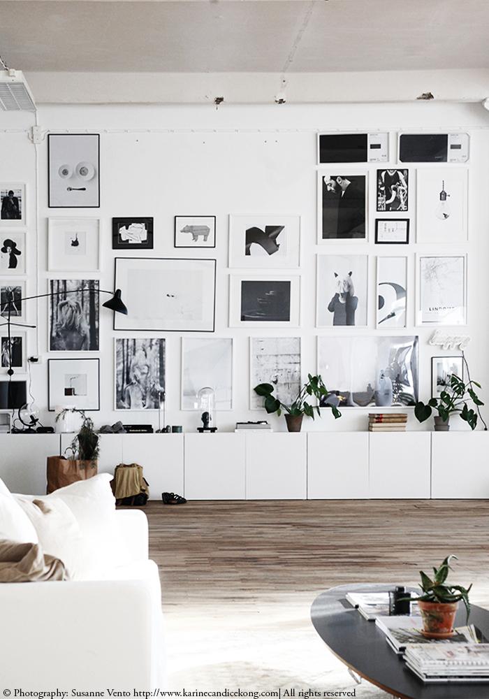 Un mur de galerie monochrome époustouflant