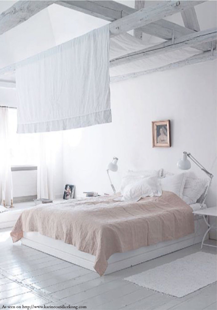 Uncluttered and peaceful, dreamy bedroom. Read on www.karinecandicekong.com