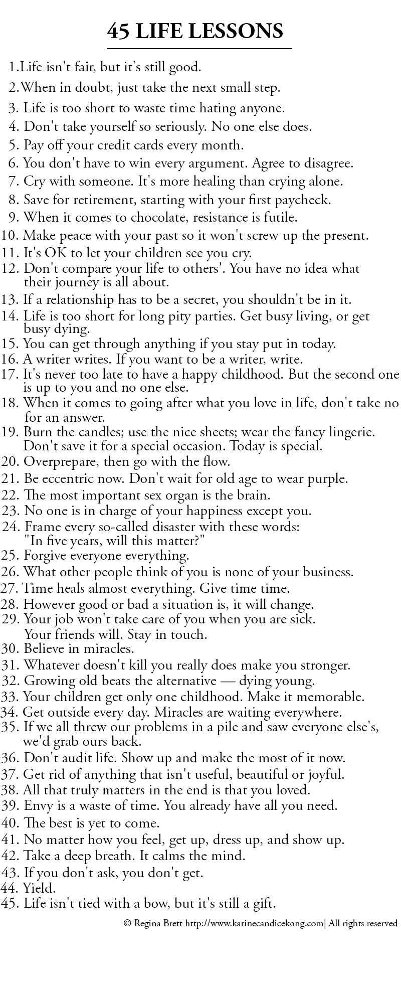45 LIFE LESSONS. Read on...