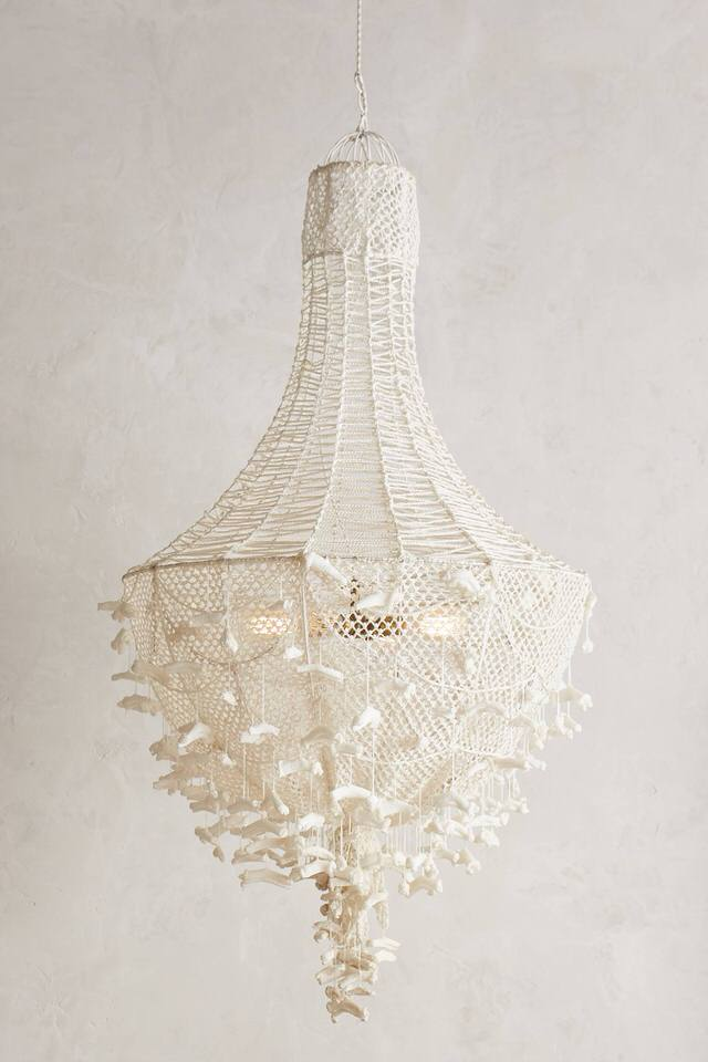 A beautiful hand-knit chandelier