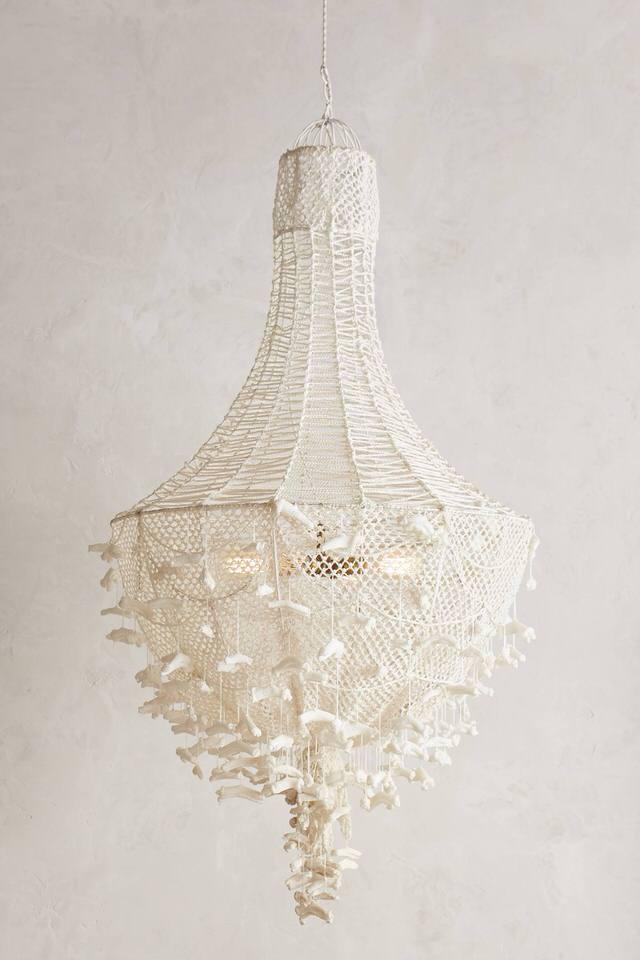 A beautiful hand-knit chandelier