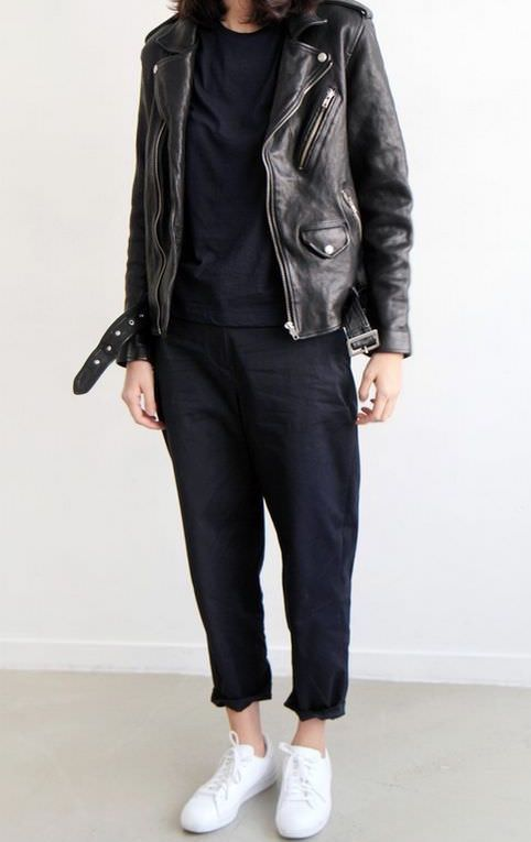 Look of the day Leather Biker jacket, black trousers & Stan Smith