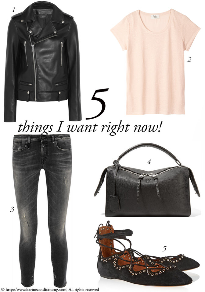 5 Things you Want Right Now! Biker jacket & Isabel Marant ballet flats