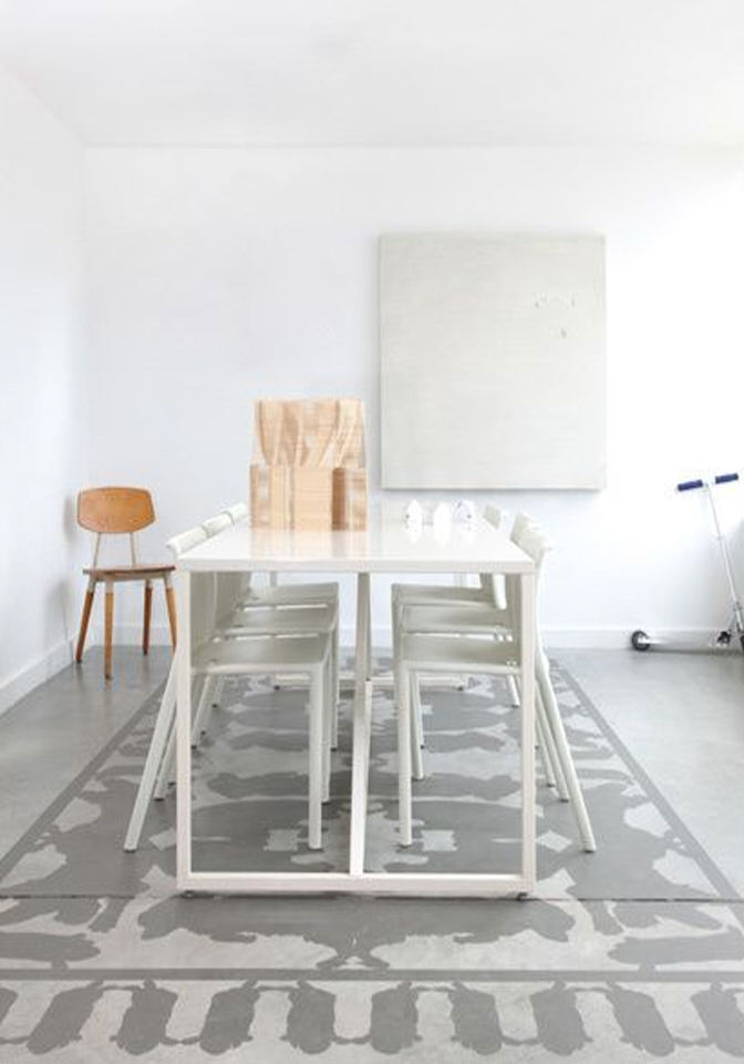Interior Design Details A Painted Rug On A Concrete Floor