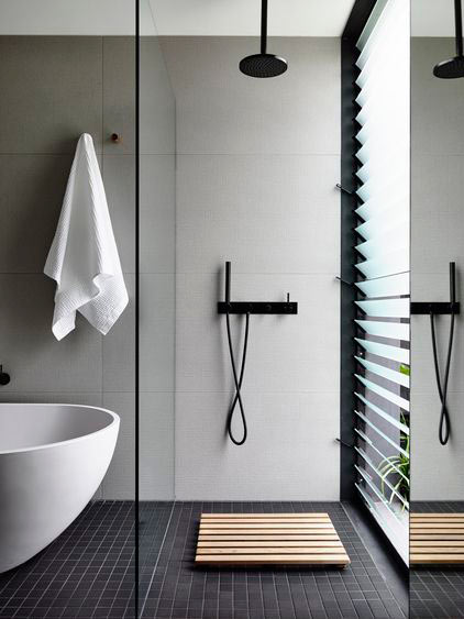 How to get the look: 5 bathrooms with black floor tiles