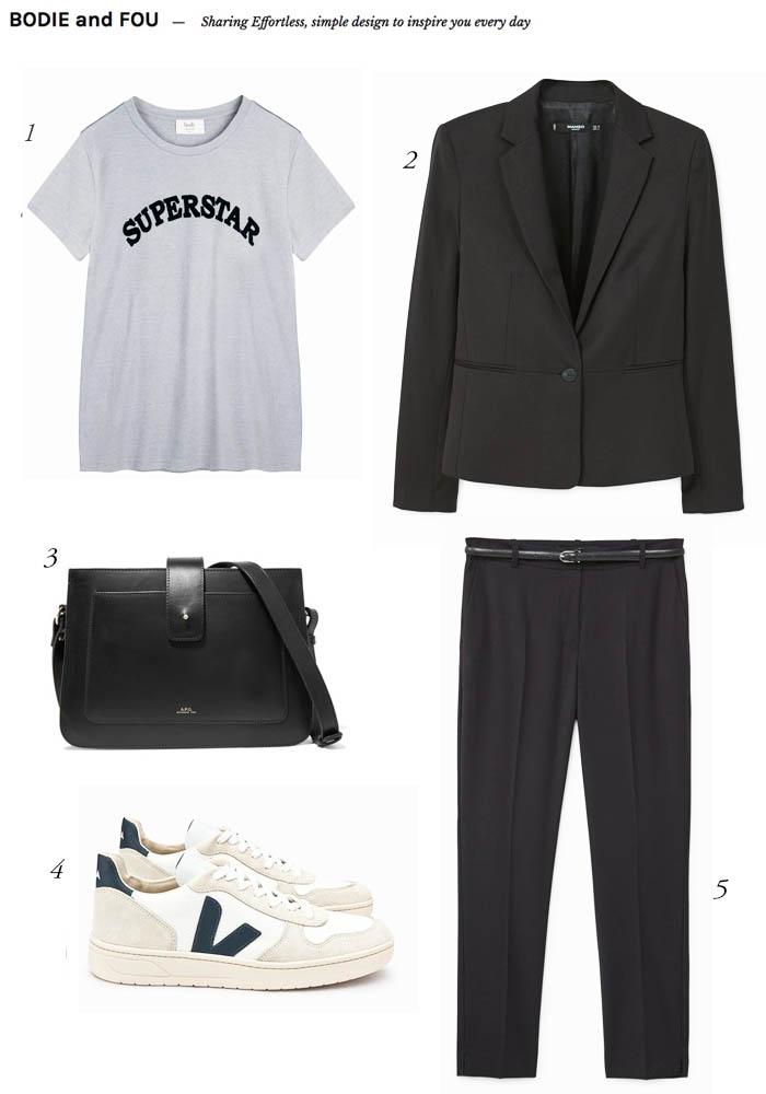 THE EDIT Black suit & Veja trainers