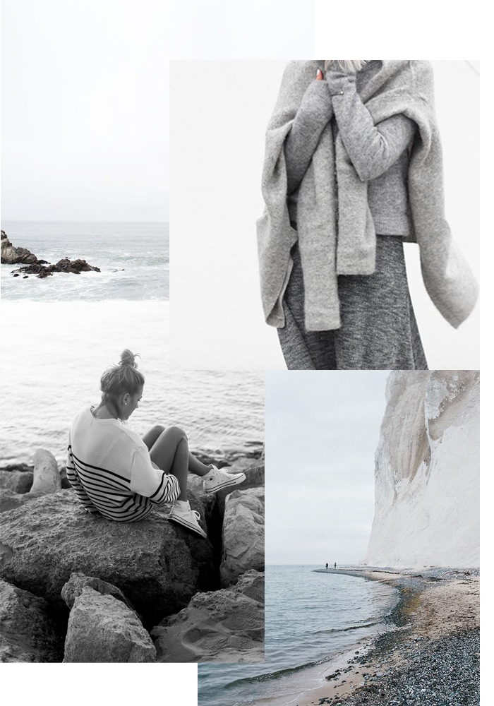 Winter seaside mood board