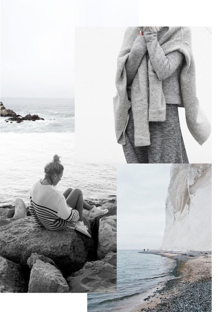 Winter seaside mood board