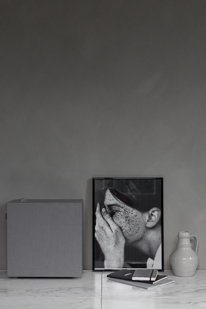 Grey on grey minimalist speaker by Urbanears