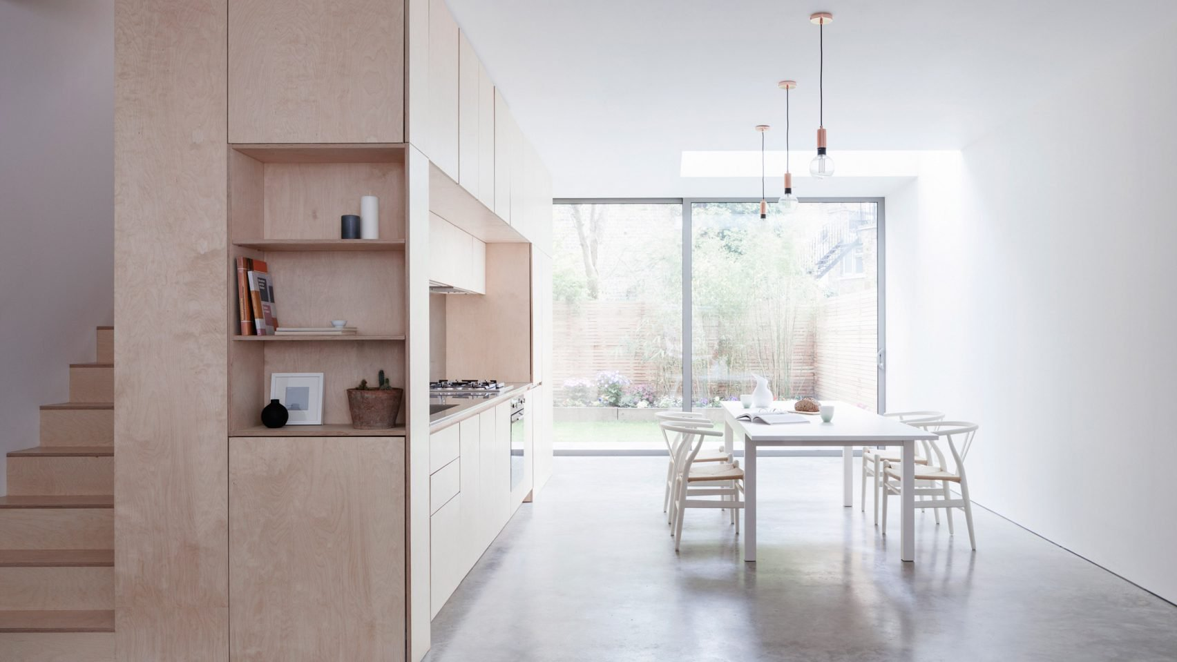 A minimalist home in London built around a plywood kitchen 1