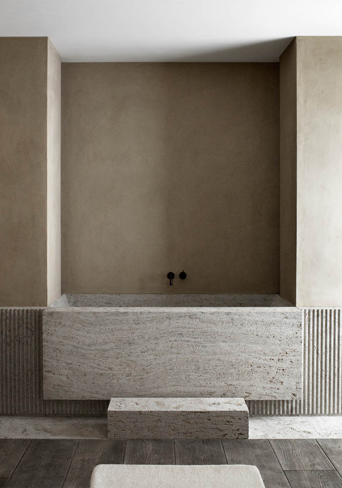 A timeless, warm minimalist bathroom