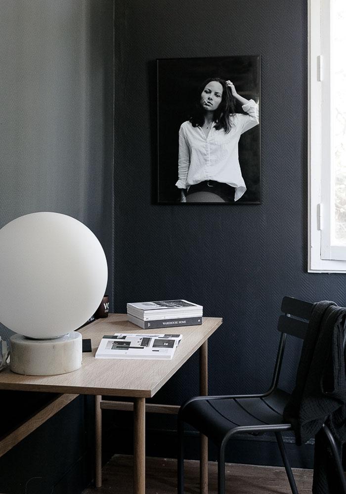 A dark office corner with Hübsch