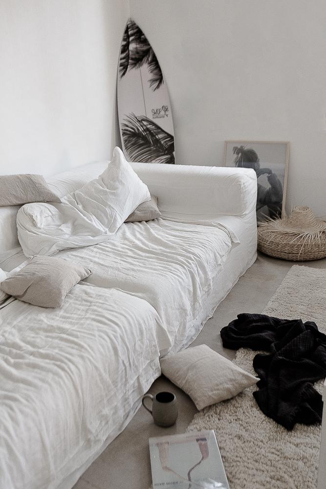 white linen sofa in CASA PYLA