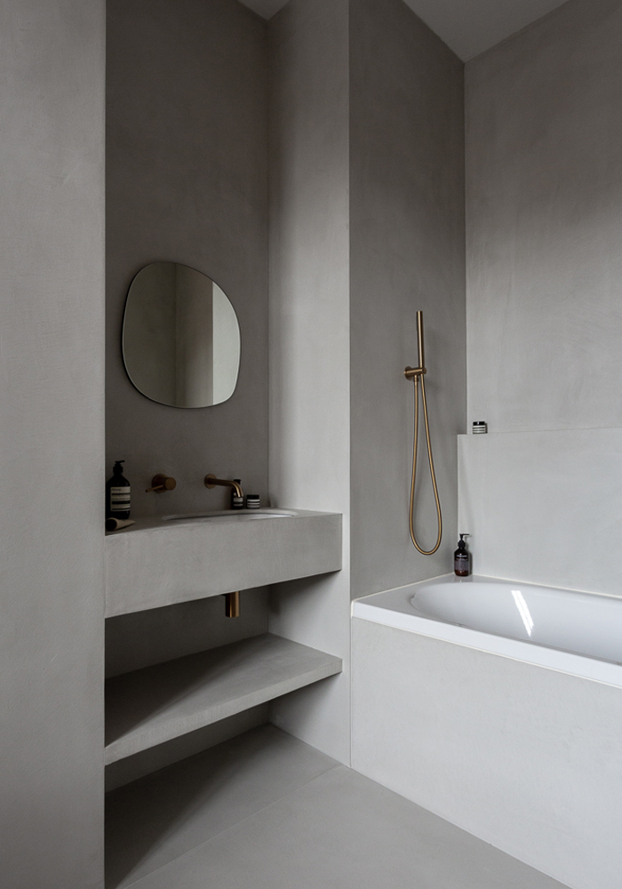 Minimalist grey bathroom in CASA PYLA